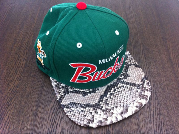 2da96e04459 Mitchell   Ness Custom Snakeskin Snapbacks by Don C featuring Kanye ...