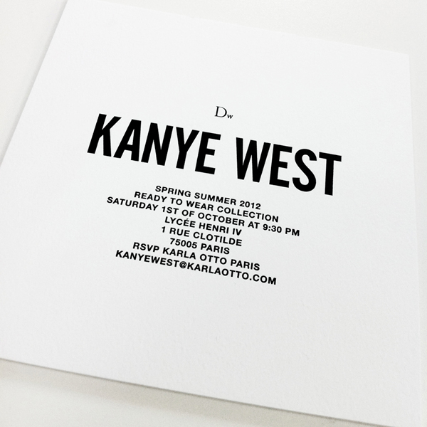 Invitation Dw by Kanye West Spring Summer 2012 Collection
