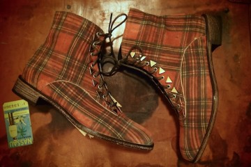 New Kid Penny Dreamcore Tartan Printed Suede Boots