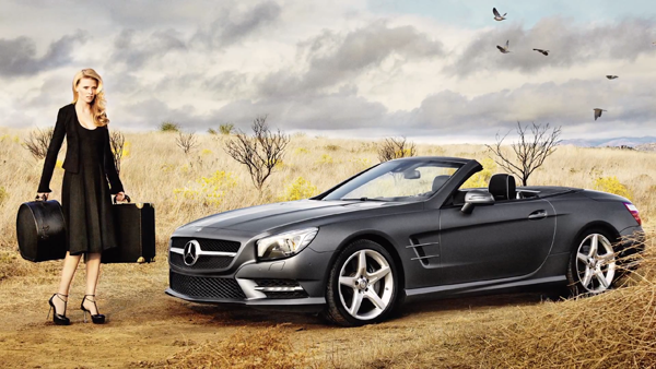 Lara Stone x Calvin Klein for 2012 Mercedes-Benz SL Roadster Behind-the-Scenes