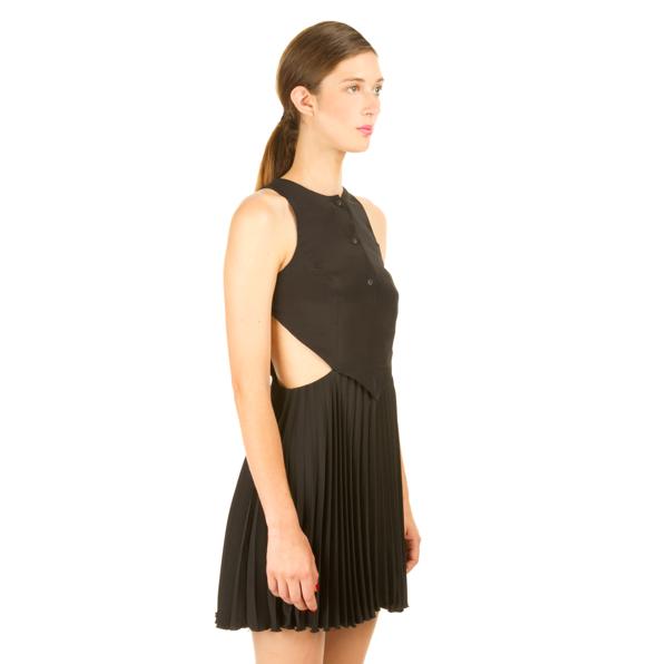 Christopher Kane Resort Silk Cutaway Pleated Dress
