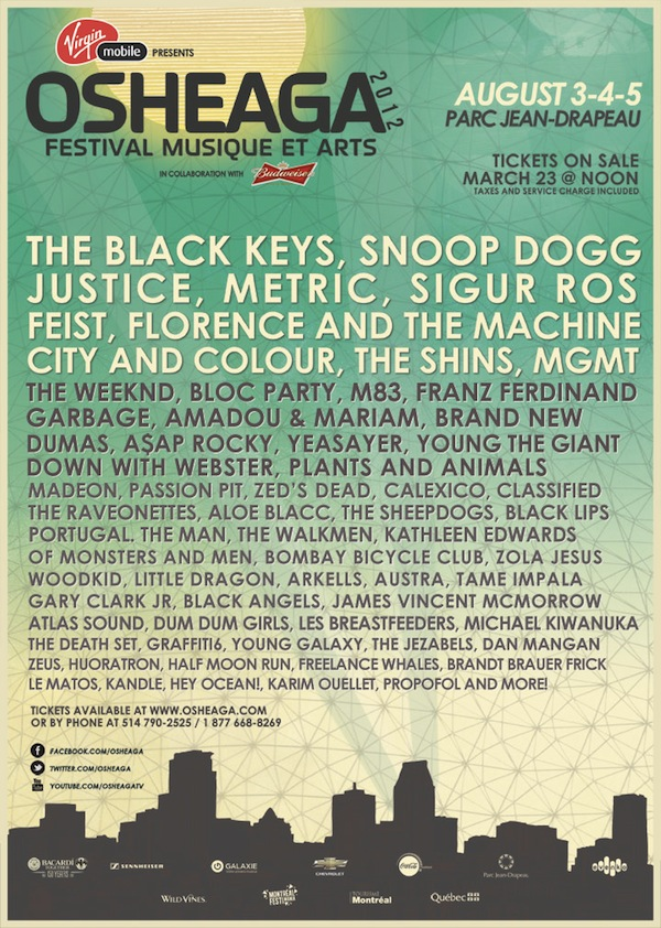 Osheaga 2012 Official Line Up