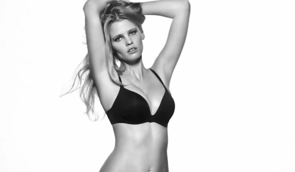 423cbe55bc Babelicious bombshell Lara Stone stars in Calvin Klein Underwear s latest  video campaign for their Push Positive ...