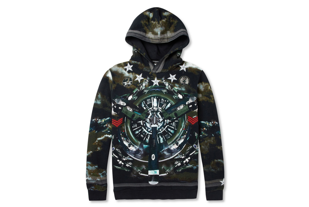 Givenchy Airplane-Print Loopback Cotton-Jersey Hoodie