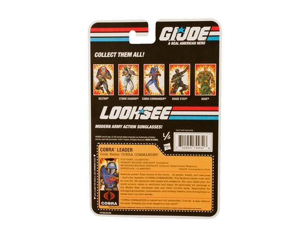 GI Joe LOOKSEE Limited Edition Eyewear Collection COBRA COMMANDER-PACKAGE BACK