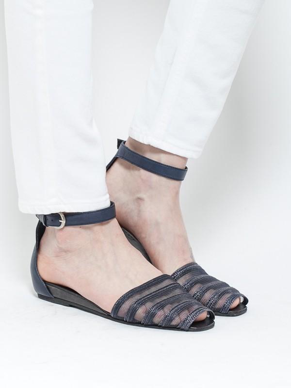 Rachel Comey Faye Straw Sandals Navy
