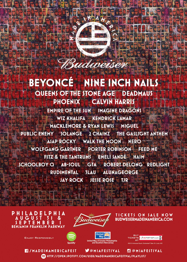 The 2013 Budweiser Made In America Festival Lineup