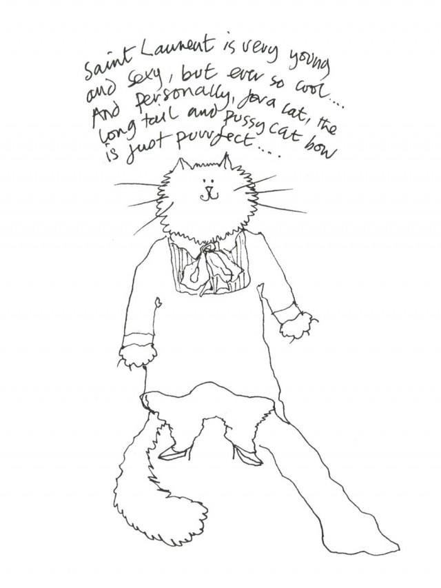 Grace Coddington for Vogue Cat Drawings