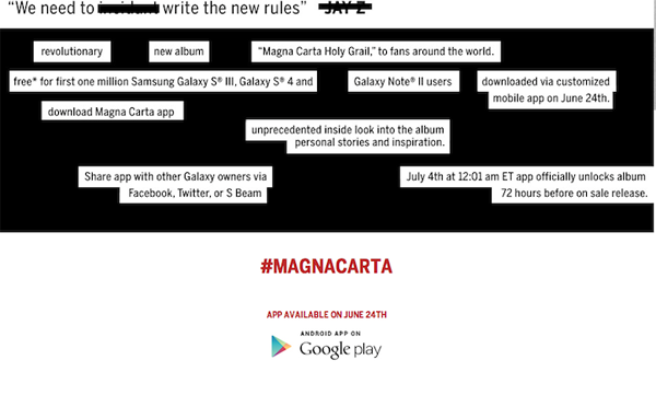 Jay-Z Magna Carta Holy Grail Samsung Galaxy
