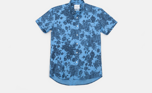 Saturdays Surf NYC Esquina Floral Print Button Down Shirt Blue