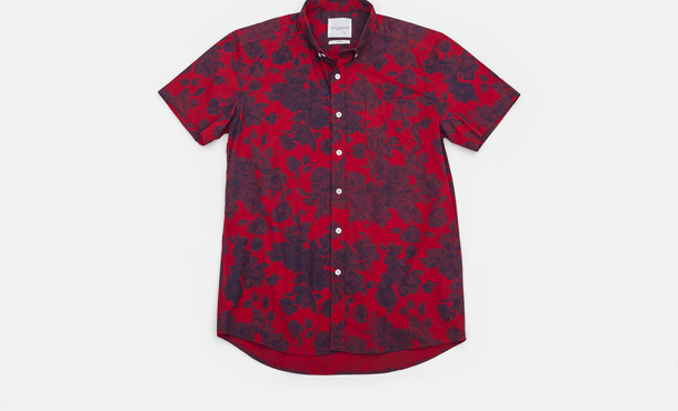 Saturdays Surf NYC Esquina Floral Print Button Down Shirt Red