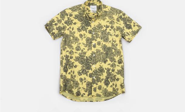 Saturdays Surf NYC Esquina Floral Print Button Down Shirt Yellow