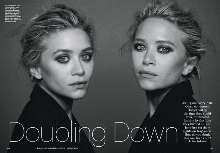 Ashley and Mary Kate Olsen Allure December 2013 Peter Lindbergh