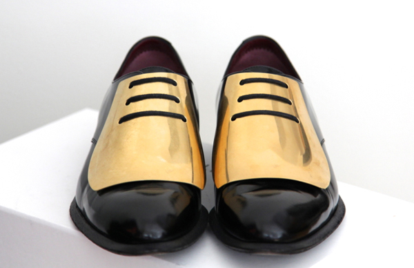 Celine Gold Metal Plate Pointy Toe Brogues