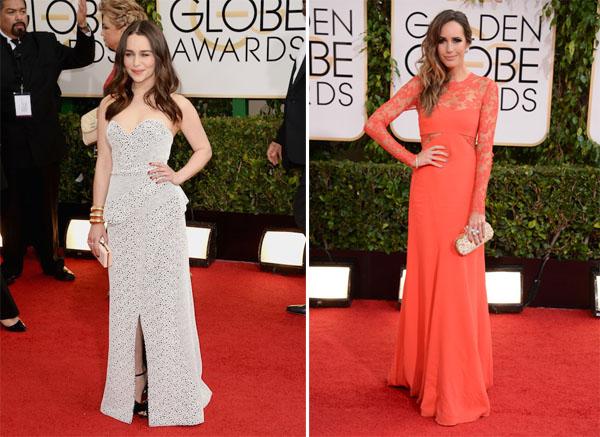 Emilia Clarke in Proenza Schouler, Louise Roe in Monique D Huillier Golden Globes 2014