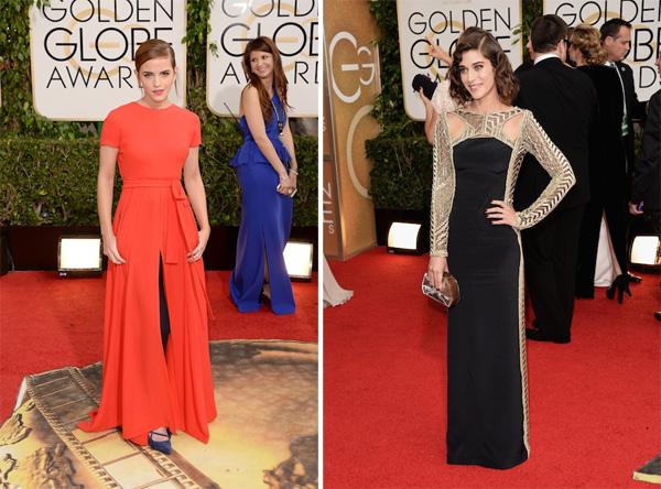 Emma Watson in Dior, Lizzy Caplan in Emilio Pucci Golden Globes 2014