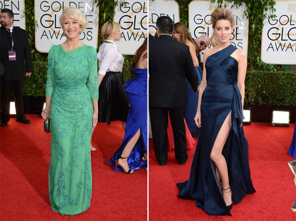 Helen Mirren in Jenny Packham, Amber Heard in Atelier Versace Golden Globes 2014