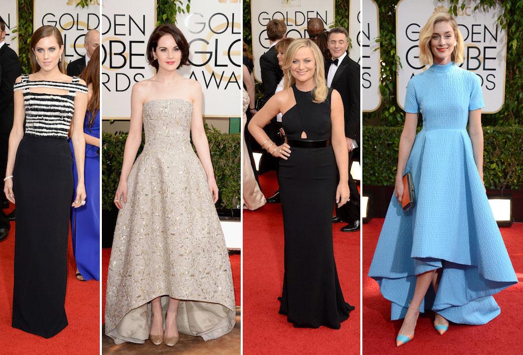Michelle Dockery, Amy Poehler, Caitlin FitzGerald, Allison Williams Golden Globes 2014 Best Dressed
