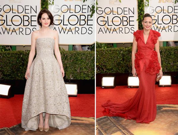 Michelle Dockery in Oscar de la Renta, Berenice Bejo in Giambattista Valli Golden Globes 2014