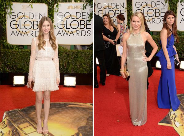 Taissa Farmiga in Elie Saab, Naomi Watts in Tom Ford Golden Globes 2014