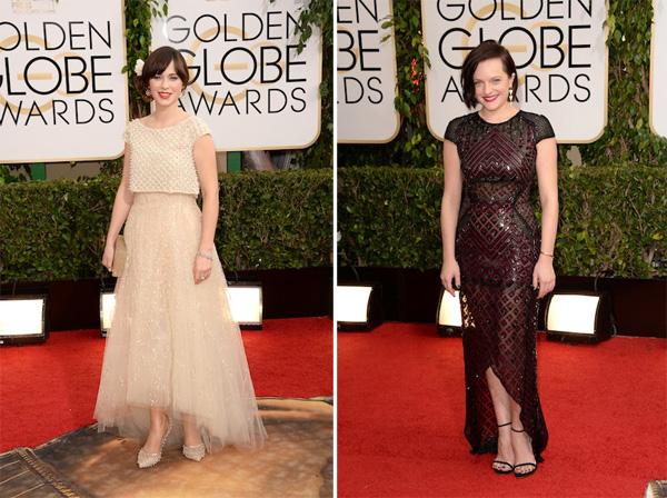 Zooey Deschanel in Oscar de la Renta, Elisabeth Moss in J Mendel Golden Globes 2014