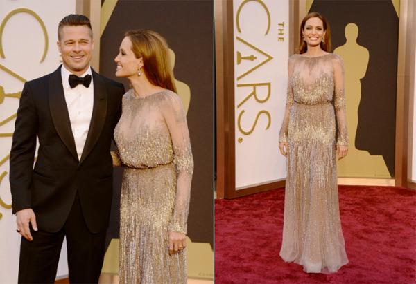 Angelina Jolie Brad Pitt Elie Saab Oscars 2014