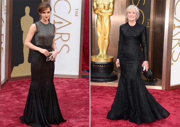 Emma Watson in Vera Wang & Glenn Close in Zac Posen Oscars 2014