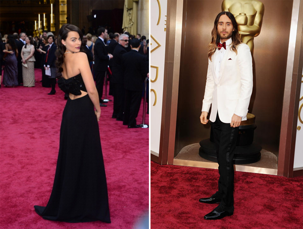 Jared Leto and Margot Robbie in Saint Laurent Oscars 2014