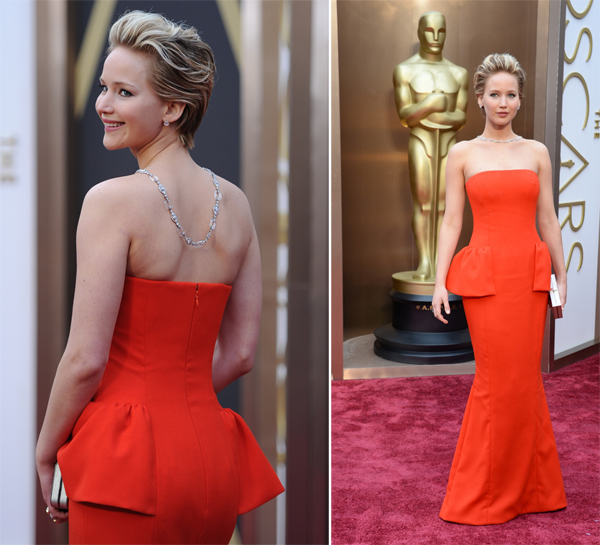 Jennifer Lawrence in Christian Dior and Niel Lane