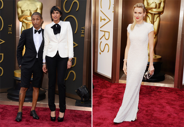 Pharrell in Lanvin & Naomi Watts in Calvin Klein and Bvlgari Oscars 2014