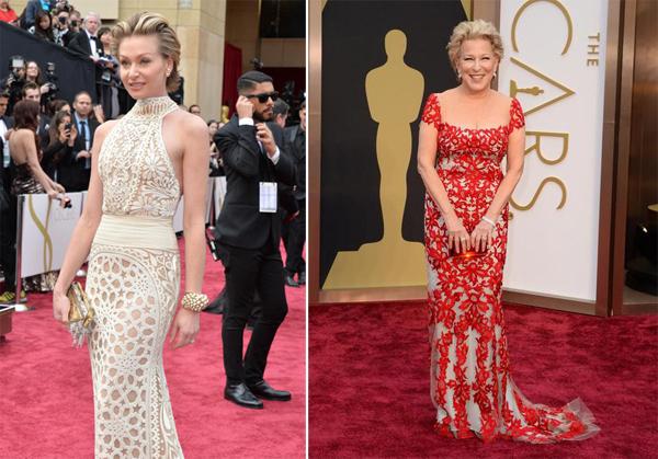 Portia de Rossi in Naeem Khan & Bette Midler in Reem Acra Oscars 2014