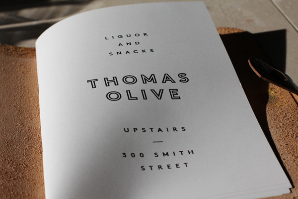 Thomas Olive Leather Bound Menu