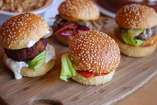Burgers at Belle's Diner in Fitzroy, Melbourne