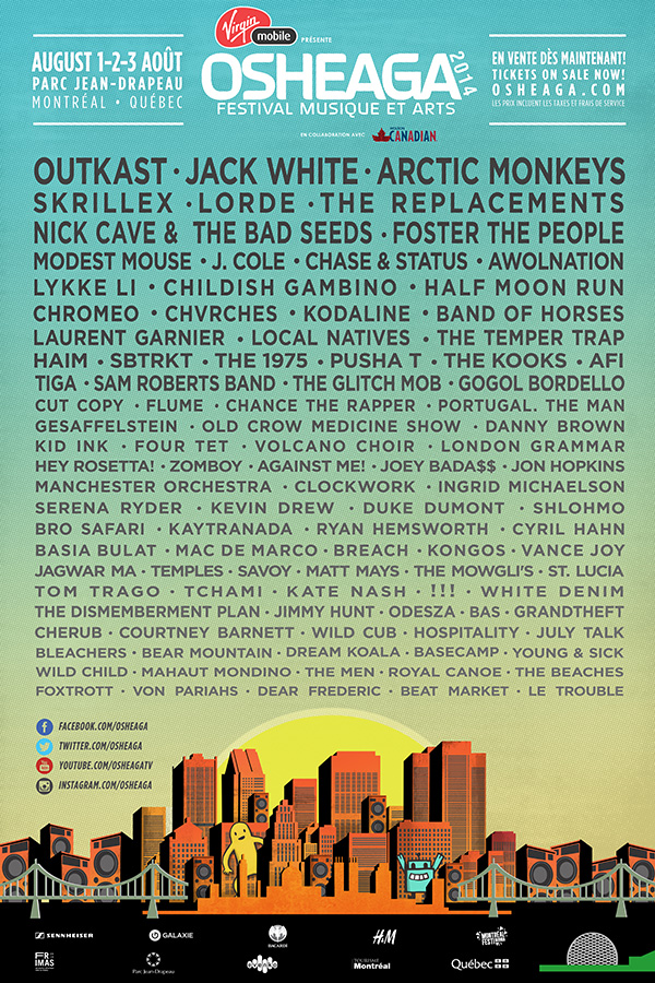 Osheaga 2014 Line Up