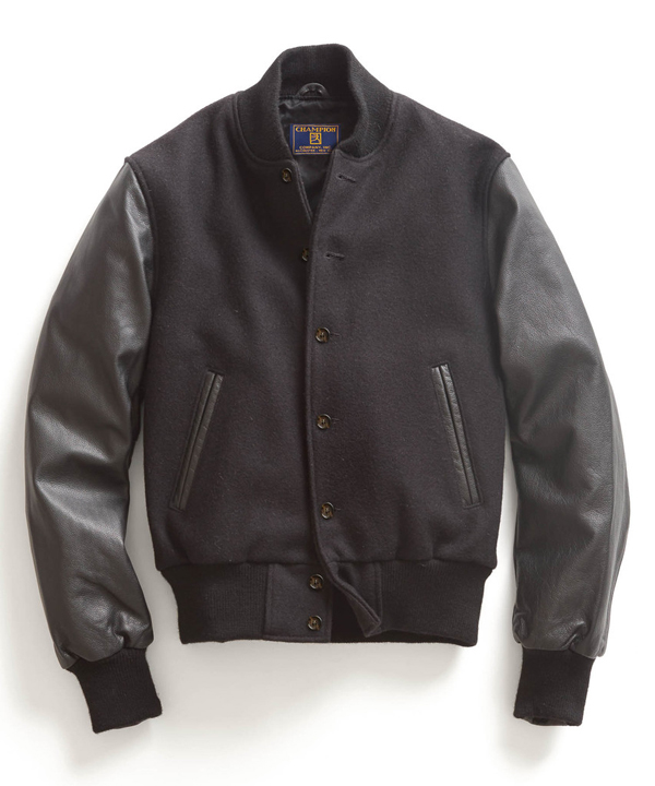 Todd Snyder x Champion Black Leather Letterman Jacket