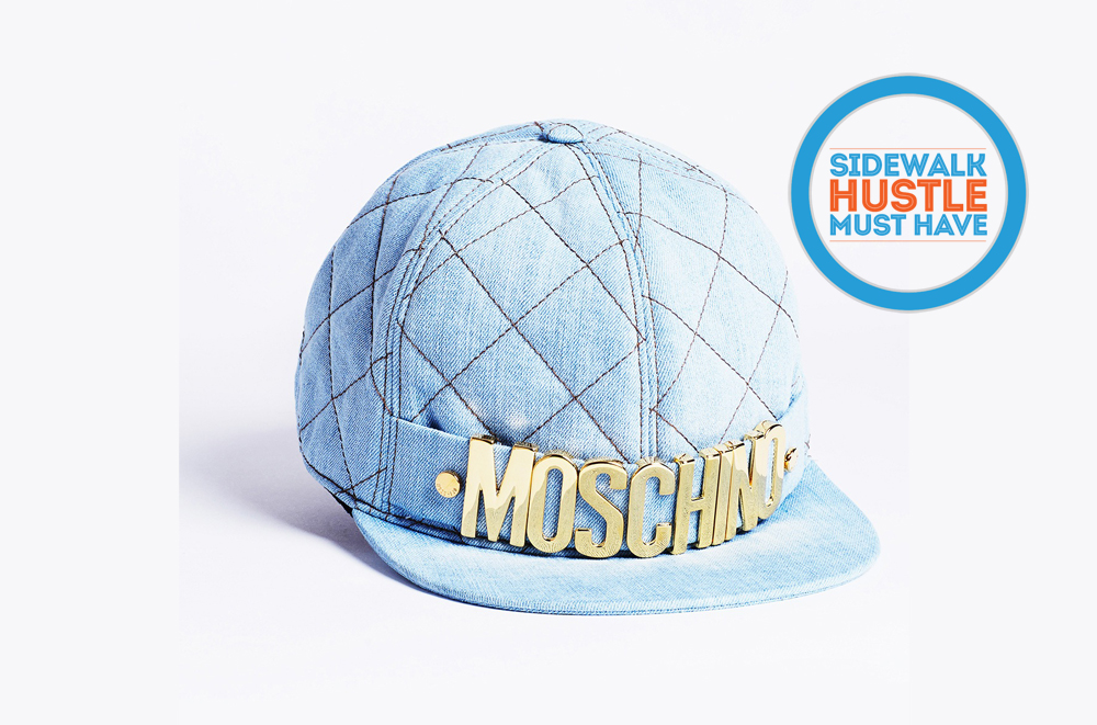Moschino Quilted Denim Embellished Cap
