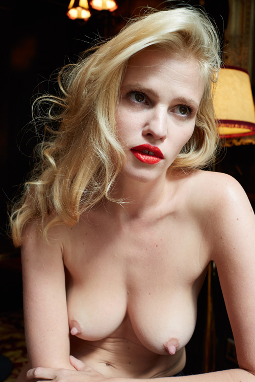 Lara Stone Post-Baby Editorial for System Magazine breasts