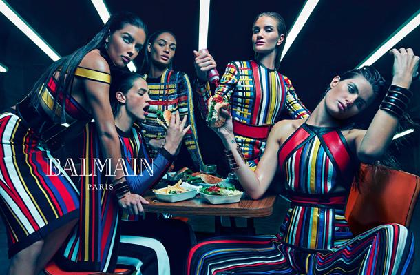 Adriana Lima, Joan Smalls, Rosie Huntington-Whiteley, Isabeli Fontana, and Crista Cober for Balmain Spring Summer 2015-2