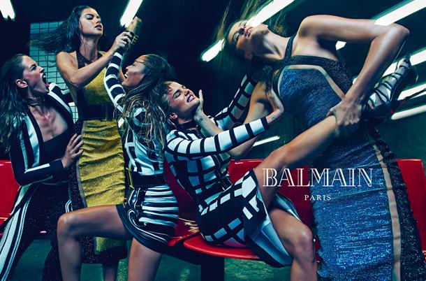 Adriana Lima, Joan Smalls, Rosie Huntington-Whiteley, Isabeli Fontana, and Crista Cober for Balmain Spring Summer 2015-3