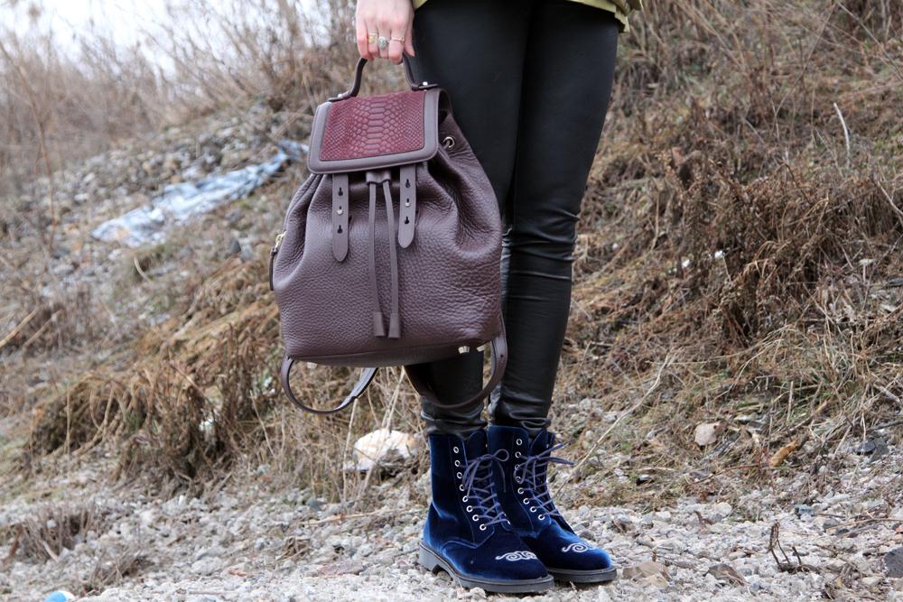 Rainy Winter Street Style Bag Shoe Detail