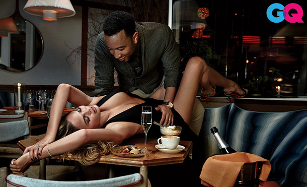 John Legend Chrissy Teigen for GQ February 2015