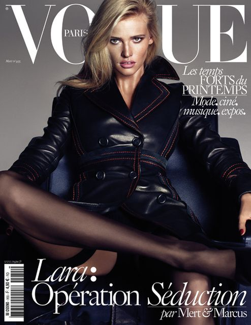 Lara Stone Vogue Paris March 2015