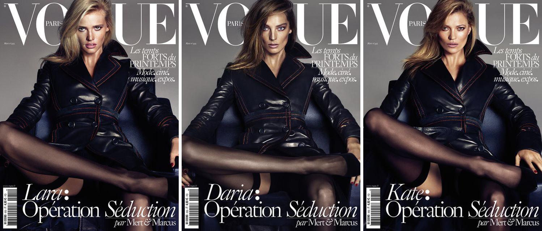 Kate Moss, Daria Werbowy, & Lara Stone Matching On Vogue Paris March 2015ate Moss, Daria Werbowy, & Lara Stone Vogue Paris March 2015
