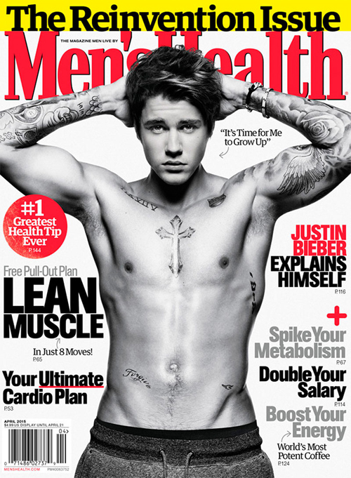 Justin Bieber Men Health Cover