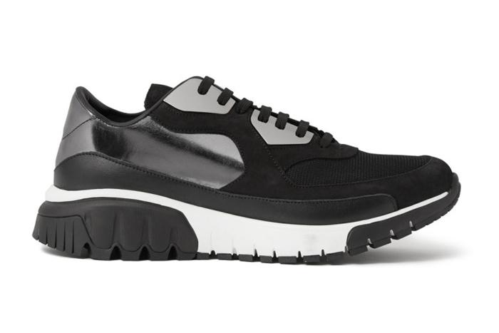 Neil Barrett Trekrun Suede Leather Metal Sneakers black