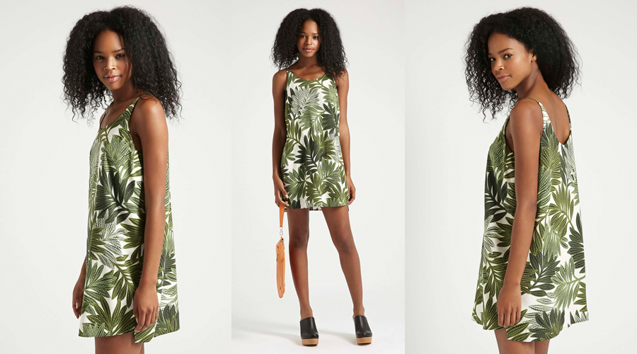 TOPSHOP PETITE Palm Leaf Print Slip Dress