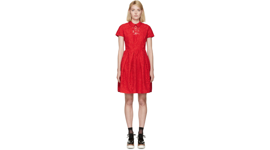 Carven Red Lace Collared Dress, $935