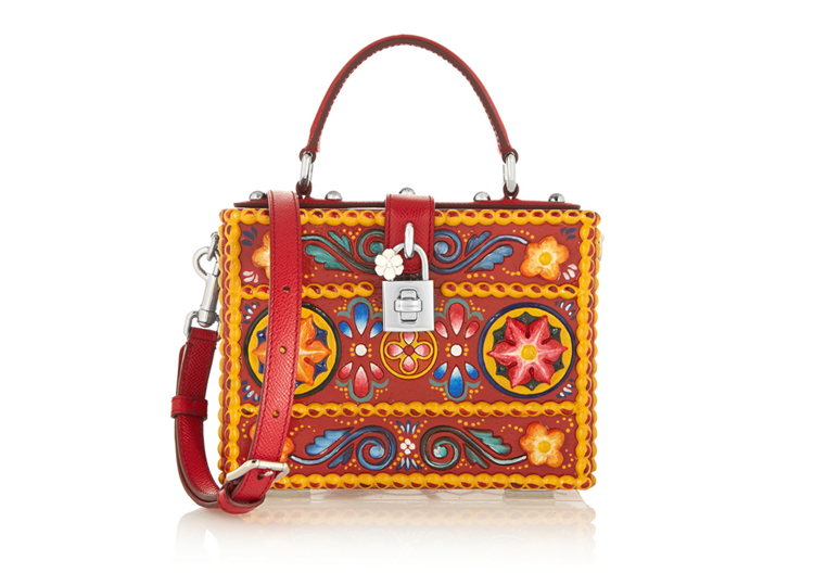 Dolce & Gabbana Textured Leather-Trimmed Wood Shoulder Bag, $7,895