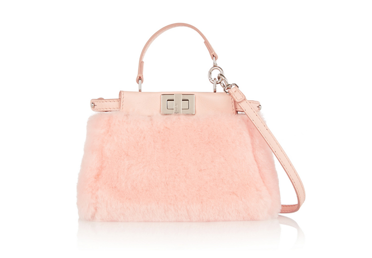 Fendi Peeakboo Micro Leather-Trimmed Shearling Shoulder Bag