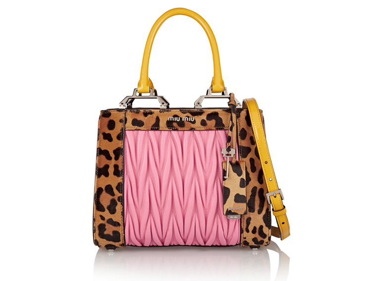 Miu Miu Double Handle Leopard-Print Leather Shoulder Bag